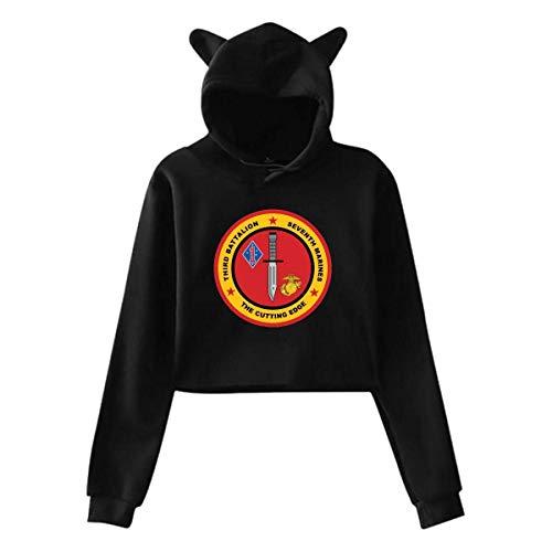 (Hylionee6. 3rd Battalion, 7th Marines Decal Womens Teen Girls Casual Cropped Cat Ear,Hoodie Sweatshirt Pullover Sweatshirt Rabbit Ears)