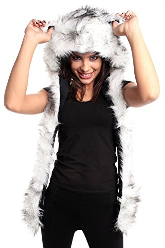 [White Wolf Anime Faux Animal Hood Hoods Mittens Gloves Scarf Spirit Paws Ears Zipper Pocket] (Wolf Halloween Costumes)