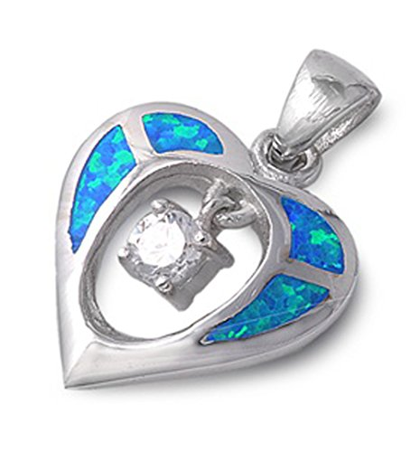 Heart Pendant Clear Simulated CZ Blue Simulated Opal .925 Sterling Silver Hanging Charm (Sterling Silver Opal Hanging)