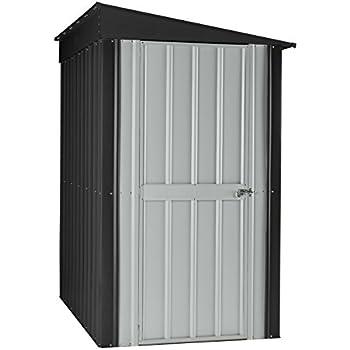 Globel 4x6 Lean-To Steel Storage Shed Slate Grey and Aluminum White