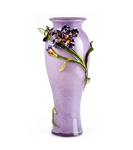 Enameled Glass Vase (RORO Wedding Gift, Enameled and Jeweled Bohemia Crystal Colibri Purple Vase, European Style, Swarovski Decoration, Luxury Home Accessories)