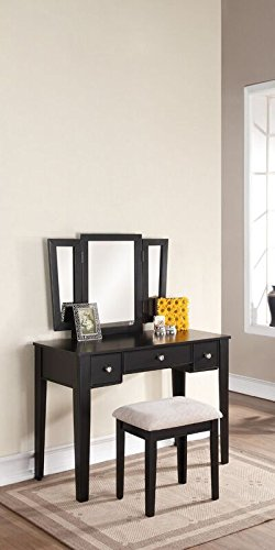 Poundex Bobkona Adar Vanity Set with Stool, Black