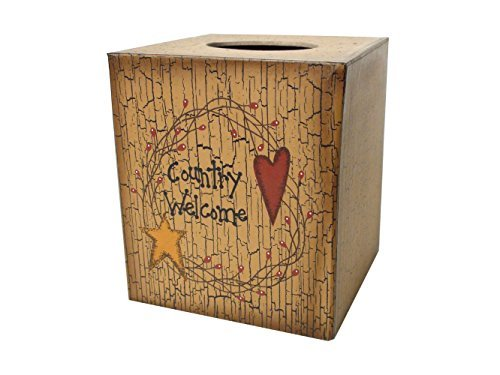 Your Heart's Delight Tissue Box Cover - Country Welcome Star & Heart - Heart Toilet Tissue Holder