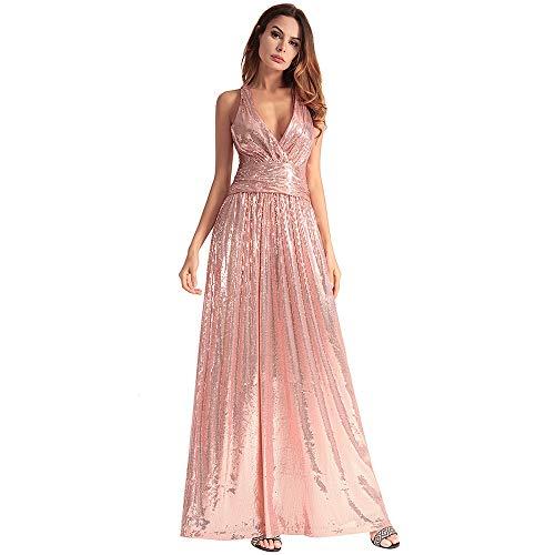 Tamaño Cómodo Sin Metro De Fiesta Dama Largo Con Elegante Cvbndfe Vestido Rosado Mangas Lentejuelas Rosado Para Honor color Mujer aqdxd4wTzn