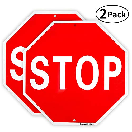 (2 Pack Stop Sign Street Slow Warning Reflective Signs 12