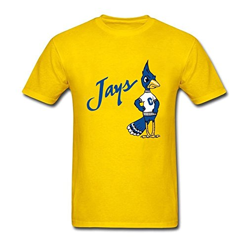 - Fashion Style Mens creighton blue jays old logo Round Neck Short Sleeve T-Shirt Yellow XL T Shirt