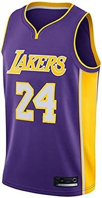 AMJUNM Camiseta de Baloncesto para Hombre, NBA Lakers 24# Kobe Bryant Camisa Bordada de Swingman de Malla: Amazon.es: Deportes y aire libre
