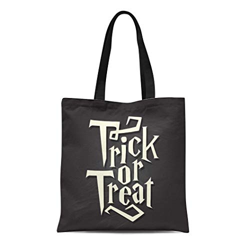 Semtomn Canvas Tote Bag Spooky Trick Treat Halloween Quote on Black Chalkboard Autumn Durable Reusable Shopping Shoulder Grocery Bag]()