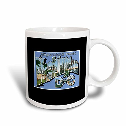 3dRose 170937_1 Greetings From Washington Dc Scenic Postcard Reproduction Ceramic Mug, 11 oz, - Postcard Photo Washington