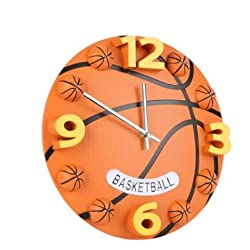 1PC New Creative 12inch Home Decor Sport Basketball Silence Hall Wall Clock Decorative Boy Gift