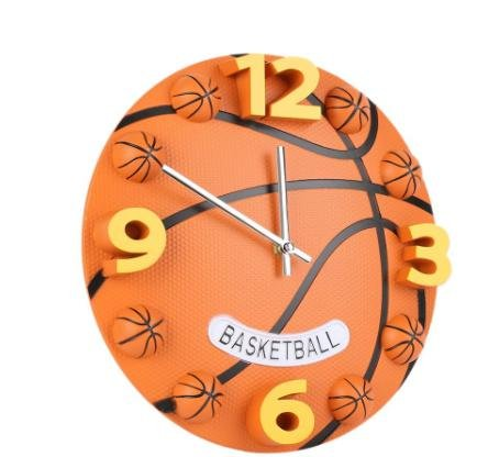 1PC New Creative 12inch Home Decor Sport Basketball Silence Hall Wall Clock Decorative Boy Gift