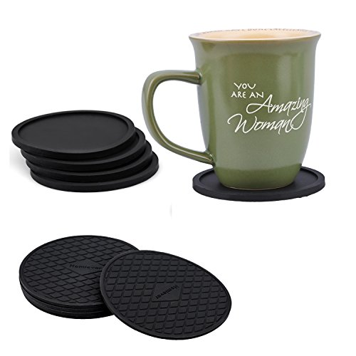 Good Quality Silicone Coasters Set of 10 Black Modern Design Best Holders for Beer / Coffee Cup 3.9 inch Each of Two Different Styles and a Soft Cloth Pouch