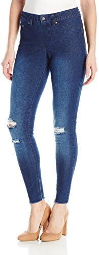 HUE Womens Ripped Denim Leggings product image
