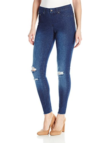 HUE Women's Ripped Knee Denim Leggings, Ink Wash, XL by HUE