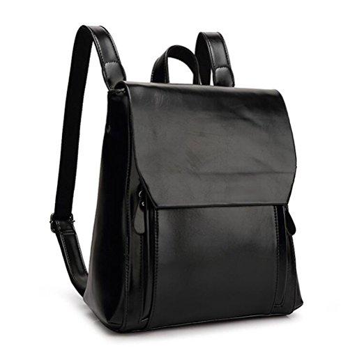 DcSpring Damen Rucksack PU Leder Umhängetasche Tasche Schultertasche Vintage für Outdoor Sports Schul Retro (Schwarz) Schwarz HxOEigoX1