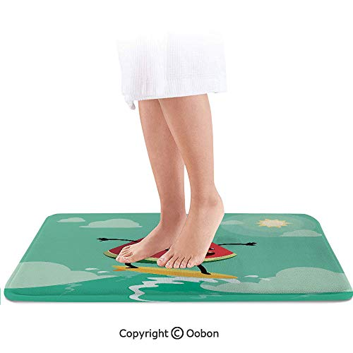 Surf Decor Bath Mat,Cute Watermelon Riding The Waves Surfing in The Ocean Popular Summer Activity,Plush Bathroom Decor Mat with Non Slip Backing,36 X 24 Inches,Red Green Yellow