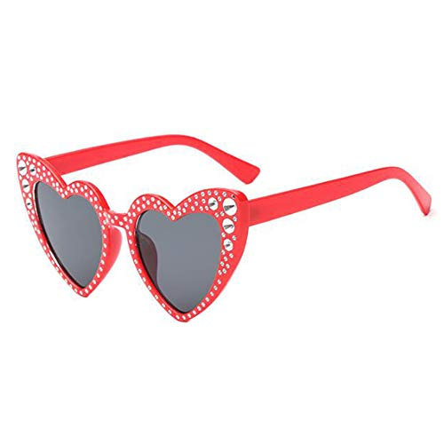 lunettes Style En Lunettes forme de chat Heart Classique UV Protection Gris de Lunettes Rouge1 Rétro Glasses soleil protectrices Polarisé Oeil de Deylaying Élégant Love xqXA86nw