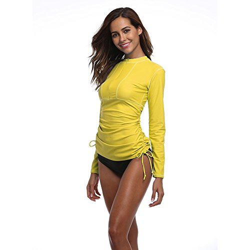 Women's Long Sleeve Rash Guard Wetsuit Swimsuit Top UV Sun Protection (901 M, Yellow)