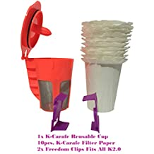 CARAFE K-CUPS Combo Set!! Reusable Carafe K-Cups Deluxe [NEW Updated Model] COFFEE FILTERS!!! for KEURIG 2.0, Model Series K200, K300, K400, K500+2x Bonus Freedom Clever Clip Fits All 2.0 Models +10x FREE CARAFE Disposable Filter Paper Refined Model