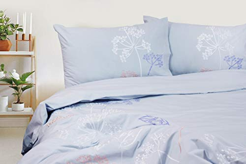 Milano Home 100% Natural Cotton 3 pc Embroidered Duvet Cover Set, Modern Style Bedding Soft Feel Hidden Buttons - King, Autumn Sky