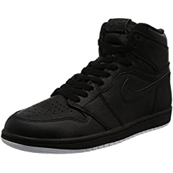 Jordan Nike Men's Air 1 Retro High OG Black Leather Basketball Shoes 12