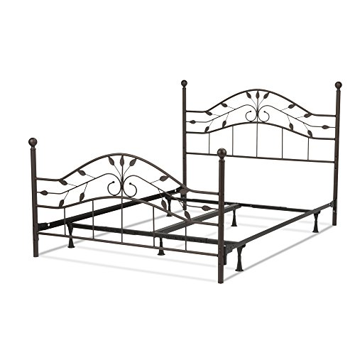 Fashion Bed Group Sycamore Complete Metal Bed and Steel Support Frame with Leaf Pattern Design and Round Final Posts, Hammered Copper Finish, California King ()