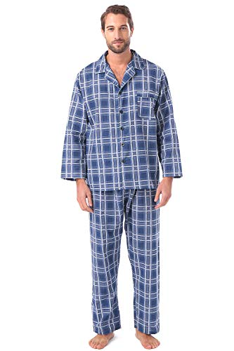 (Mens Pajama Set Cotton Flannel Long Sleeve Button -Down Top and Bottom Sleepwear with Pocket Navy)