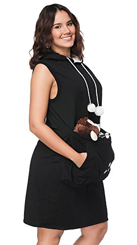 Womens Pet Carrier Dresses Kitten Puppy Holder Long Shirts Big Pouch Hood Tops by Jomago (Image #5)