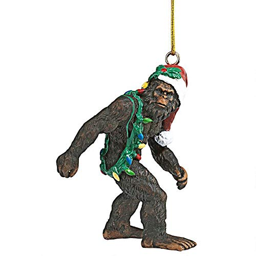 Design Toscano Bigfoot, the Christmas yeti with Sabta's hat Funny Christmas tree decoration, polyresin, full color, 7.5 cm