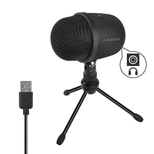 Avantree 3001 USB Condenser Microphone with Live Monitoring for Desktop Computer, Laptop, MAC or Windows PC Recording Streaming Podcasting Skype Gaming, 3.5mm Audio Output, Tripod Stand [24M Warranty]