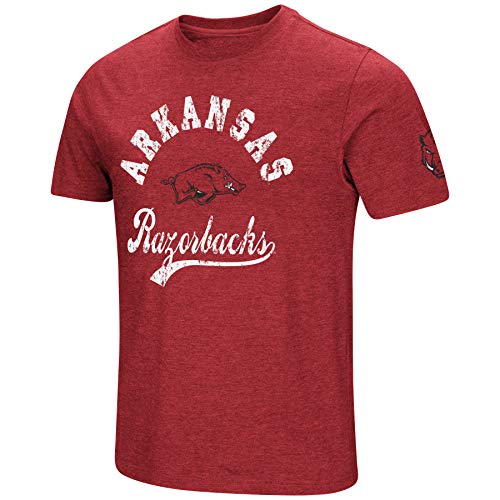 NCAA Colosseum Men's Vintage Dual-Blend T-Shirt with 2 Logos (Arkansas Razorbacks-Cardinal, Medium)