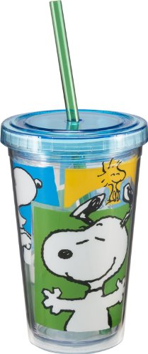 Vandor 85014 Peanuts Snoopy 12 oz Acrylic Travel cup with Lid and Straw, Multicolor (Bottle Snoopy)