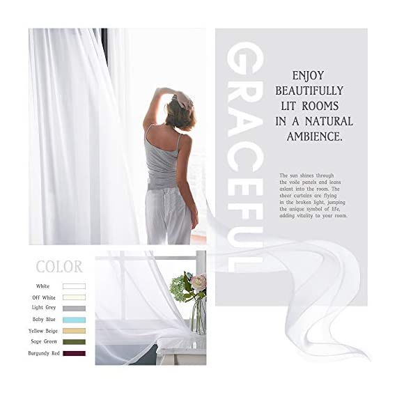 "NICETOWN Sheer Window Curtain Panels - Solid White Panels / Drapes with Grommet Top (2-Pack, 54 Wide x 96 inch Long, White) - READY MADE: Package includes 2 Panels sheer curtains, each paenl measures 54""wide with 8 silver grommets( inner diameter is 1.6 inch). As a general rule, for proper fullness panels should measure 2-3 times the width of your window/opening. MULTIFUNCTION: Voile sheer curtain enables you to appreciate the beautiful scene outside the window freely while sustaining s bit of privacy. Besides, voile drapes can be hung separately or paired with NICETOWN blackout curtains. AMAZING MATERIAL: Due to the thin, unlined fabric and casual setting, light can get through soft airy sheer voile curtain and lighten up the room. They will add a touch of luxury and finesse to your home! - living-room-soft-furnishings, living-room, draperies-curtains-shades - 41SaJ5C4pnL. SS570  -"
