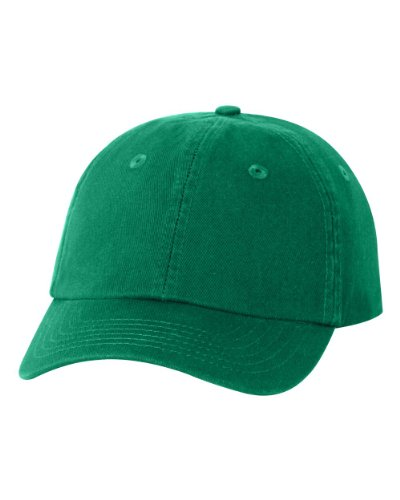 Youth Small Fit Bio Washed Unstructured Cotton Unisex Baseball Dad Hat Green