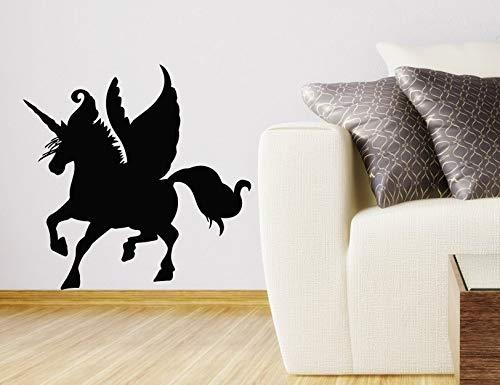 Tianpengyuanshuai Adhesivo de Pared hogar para ninos Dormitorio Adhesivo de Pared Caballo con alas Silueta Arte Vinilo pared129x129cm
