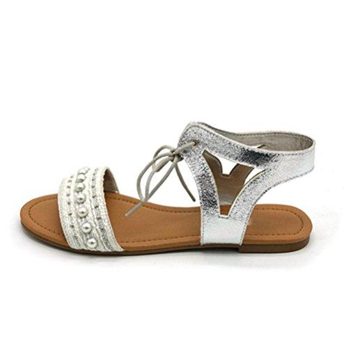 cómodas Zapatos Sandalias mujer XIE Silver de de de romanas Sandalias una correas planas mujer palabra perlas de de Sandalias plata wSCqwFOP