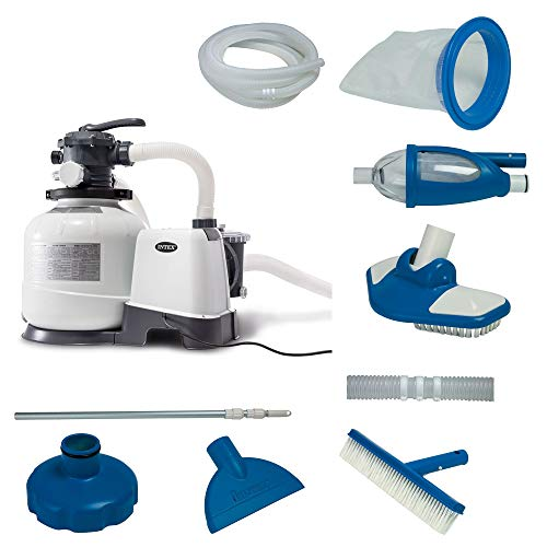 Above Pool Kits Ground - Intex 2800 GPH Above Ground Pool Sand Filter Pump w/ Deluxe Pool Maintenance Kit