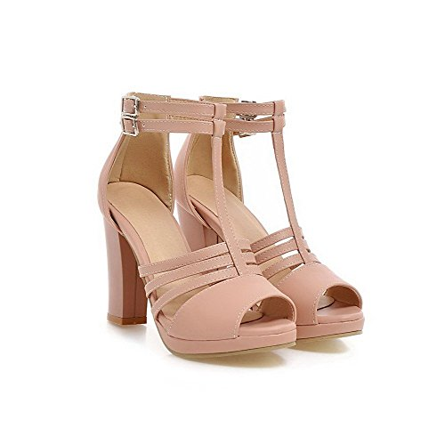 AllhqFashion Women's High Heels Soft Material Solid Buckle Peep Toe Sandals Pink 8K9Ay8hl71
