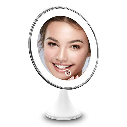 BEQOOL 10X Magnifying Lighted Makeup Mirror with Lights, 360°Rotation Vanity Mirror Portable Hand Cosmetic Light Up LED Mirror with Strong Sticky Suction Cup for Home Bathroom Shower Travel (Silver)