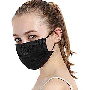 masite 10Pcs Unisex Black Disposable Soft Breathability Earloop Face Dresses