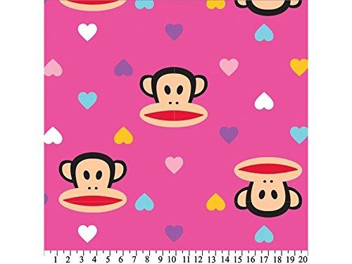 - Premium Anti-Pill Paul Frank Julius Hearts Hot Pink Fleece 635