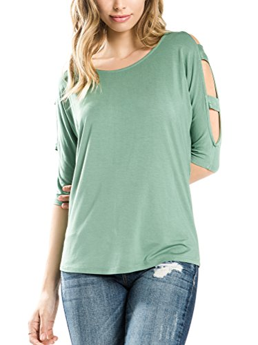(Bubble B Women's Cut Out Shoulder Strappy Sleeve Top Junior Plus Sage 3X)