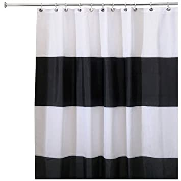 Curtains Ideas black cloth shower curtain : Amazon.com: InterDesign Waterproof Mold and Mildew-Resistant Zeno ...