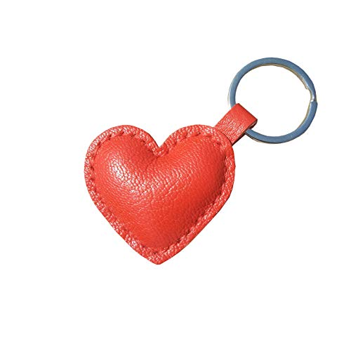 (Waner Heart Shaped Key Chain, Real Leather Keychain, Red, Medium)