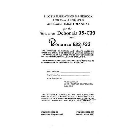 Beech 35 C33A Debonair E33A Bonanza Pilot S Operating