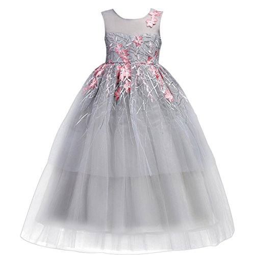 Little Big Girl Flower Maxi Tutu Tulle Wedding Princess Long Dress Ruffles Vintage Embroidered Formal Bridesmaid Gowns 5-17T Grey Pink 5-6 Years