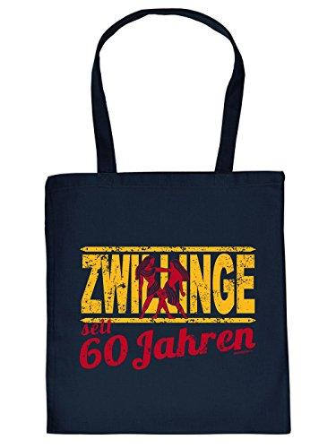 Geschenkidee zum 60. Geburtstag: Sternzeichen Unisex Jutetasche/ Einkaufstasche/ Stoffbeutel/ Zwillinge seit 60 Jahren