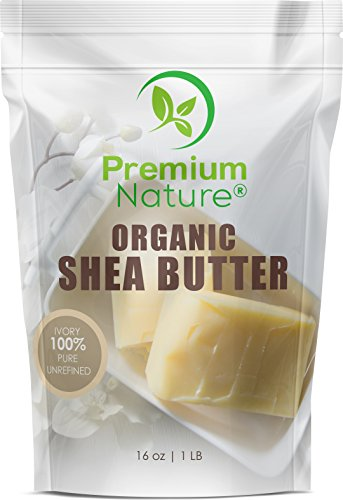 Shea Butter Raw Organic African - 16 oz bag Pure Virgin Unrefined for Body Butter Stretch Mark Eczma Natural Lip Balm Organic Skin Care Scar Cream DIY Skin Food Naturals Premium Nature -