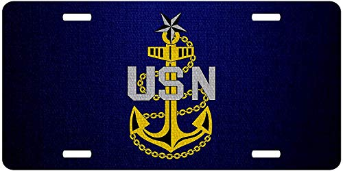 License Plate Covers U.S. Navy Senior Chief Petty Officer, Rank Insignia (Collar Device) Personalized Military Novelty License Plates, Custom U.S. Navy Decorative Front for US Vehicles ()