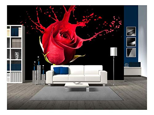 wall26 - red Rose with red Splashes on Black Background - Removable Wall Mural | Self-Adhesive Large Wallpaper - 66x96 inches